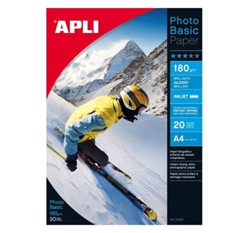 Εικόνα της ΧΑΡΤΙ APLI PHOTO BASIC A4 180g/m2 GLOSS INKJET PACK 20PAGES