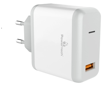 Picture of ΦΟΡΤΙΣΤΗΣ ΜΠΡΙΖΑΣ POWERTECH PT-709 QUICK CHARGE 3.0  1x USB, DC5V 3.A max , WHITE