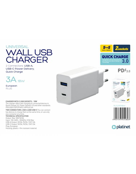 ΦΟΡΤΙΣΤΗΣ ΜΠΡΙΖΑΣ PLATINET WALL CHARGER 18W TYPE C PD3.0+QC3.0